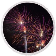 Fire Works Round Beach Towel