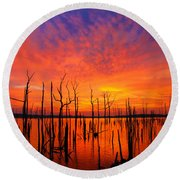 Fired Up Morn Round Beach Towel by Roger Becker