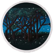 Fireflies Round Beach Towel