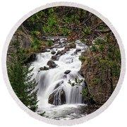 Firehole River Waterfall Yellowstone Np Round Beach Towel