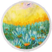 Round Beach Towel featuring the painting Firelight by Holly Carmichael