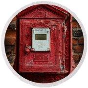 Fireman - The Fire Alarm Box Round Beach Towel