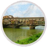 Firenze Bridge Itl2153 Round Beach Towel
