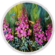 Fireweed And Dragonflies Round Beach Towel