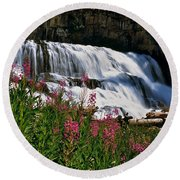 Fireweed Blooms Along The Banks Of Granite Creek Wyoming Round Beach Towel