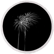 Firework Palm Trees Round Beach Towel