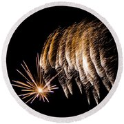 Round Beach Towel featuring the photograph Fireworks 1 by Susan  McMenamin