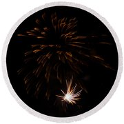 Round Beach Towel featuring the photograph Fireworks 2 by Susan  McMenamin