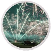 Fireworks And Aircraft Round Beach Towel