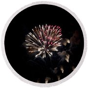 Fireworks At Night Round Beach Towel