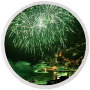 Round Beach Towel featuring the photograph Fireworks Hdr by Antonio Scarpi