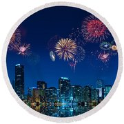 Fireworks In Miami Round Beach Towel by Carsten Reisinger