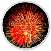 Fireworks In Red And Yellow Round Beach Towel by Michael Porchik