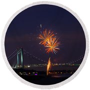 Fireworks On Staten Island South Beach Round Beach Towel