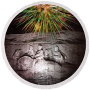 Fireworks Over Stone Mountain Round Beach Towel