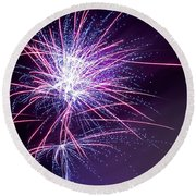 Fireworks - Purple Haze Round Beach Towel