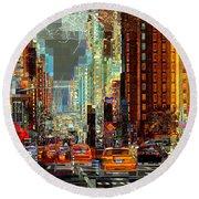 First Avenue - New York Ny Round Beach Towel