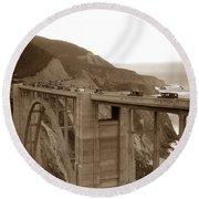 First Cars Across Bixby Creek  Bridge Big Sur California  Nov. 1932 Round Beach Towel