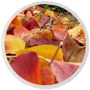Round Beach Towel featuring the photograph First Day Of Fall by Andrea Anderegg