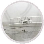 First Flight Captured On Glass Negative - 1903 Round Beach Towel