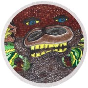 Round Beach Towel featuring the drawing First Jungle by Don Koester