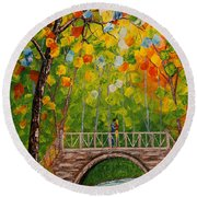 Round Beach Towel featuring the painting First Kiss On The Bridge Original Acrylic Palette Knife Painting by Georgeta Blanaru