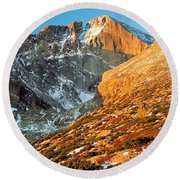 First Light At Longs Peak Round Beach Towel
