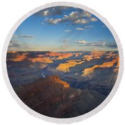 First Light On The Colorado Round Beach Towel by Mike  Dawson