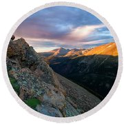 First Light On The Mountain Round Beach Towel
