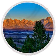First Light On The Tetons Round Beach Towel