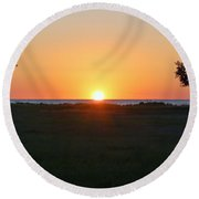First Light Round Beach Towel by Patrick Shupert