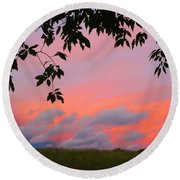 Round Beach Towel featuring the photograph First October Sunset by Kathryn Meyer