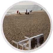 First On The Beach At Bethany Beach In Delaware Round Beach Towel