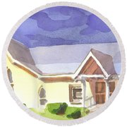 Round Beach Towel featuring the painting First Presbyterian Church II Ironton Missouri by Kip DeVore