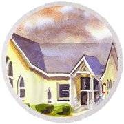 Round Beach Towel featuring the painting First Presbyterian Church Ironton Missouri by Kip DeVore