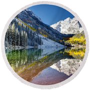 First Snow Maroon Bells Round Beach Towel
