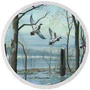 Round Beach Towel featuring the painting First Snow by Mike Brown