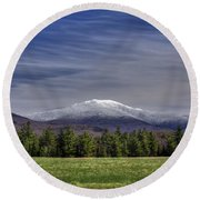 First Snow On Lafayette Round Beach Towel