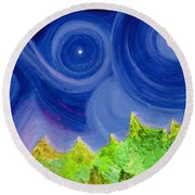 Round Beach Towel featuring the painting First Star By  Jrr by First Star Art