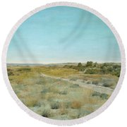 Round Beach Towel featuring the painting First Touch Of Autumn by William Merritt Chase