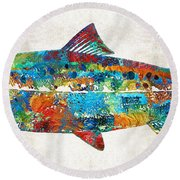 Fish Art Print - Colorful Salmon - By Sharon Cummings Round Beach Towel
