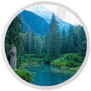 Fish Creek In Tongass National Forest By Hyder-ak  Round Beach Towel