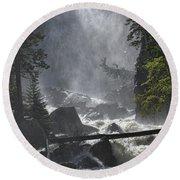 Round Beach Towel featuring the photograph Fish Creek Mist by Don Schwartz