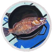 Fish Fry Round Beach Towel