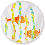Round Beach Towel featuring the painting Fish Fun by Michele Myers