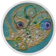 Fried Egg Head Over Queasy Round Beach Towel by Douglas Fromm