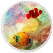 Round Beach Towel featuring the photograph Fish In The Sea by Athala Carole Bruckner