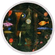 Round Beach Towel featuring the painting Fish Magic by Paul Klee