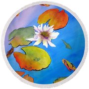 Fish Pond I Round Beach Towel by Lil Taylor