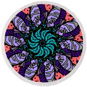 Round Beach Towel featuring the digital art Fish / Seahorse #2 by Elizabeth McTaggart